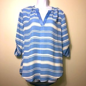 Society Girl Periwinkle Striped Long Sleeve Blouse